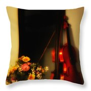 Flowers And Violin Throw Pillow