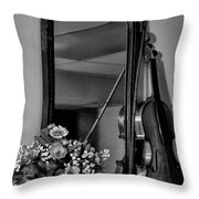 Flowers And Violin In Black And White Throw Pillow