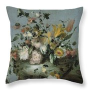 Flowers, Anonymous, C. 1700 - C. 1799 Throw Pillow