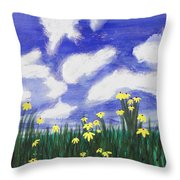 Flowers Bright Field Throw Pillow