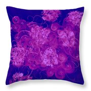 Flowers, Buttons And Ribbons -shades Of  Blue To Fuchsia Throw Pillow