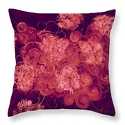 Flowers, Buttons And Ribbons -shades Of Burbundy Rose Throw Pillow