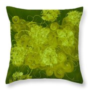 Flowers, Buttons And Ribbons -shades Of Chartreuse Throw Pillow