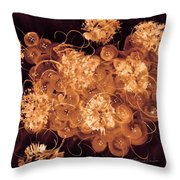Flowers, Buttons And Ribbons -shades Of  Chocolate Mocha Throw Pillow