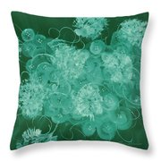Flowers, Buttons And Ribbons -shades Of Green Throw Pillow