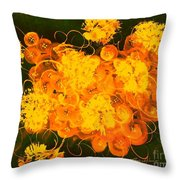 Flowers, Buttons And Ribbons -shades Of Orange/yellow  Throw Pillow