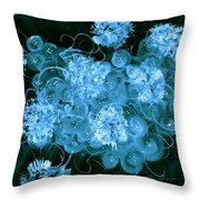Flowers, Buttons And Ribbons -shades Of  Turquoise Throw Pillow
