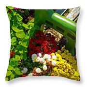 Flowers By Green Bench Throw Pillow