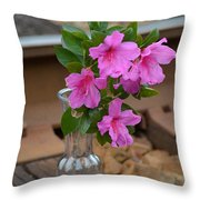 Flowers By The Tracks Throw Pillow
