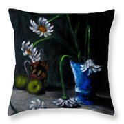Flowers Camomiles Still Life Acrylic Painting Throw Pillow