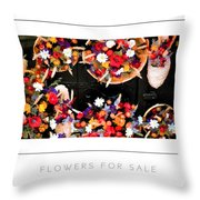 Flowers For Sale Poster Throw Pillow