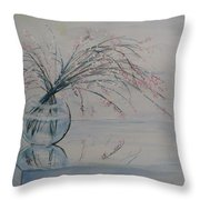 Flowers Glass Water And Mirror Throw Pillow