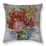 Flowers In A Glass Throw Pillow