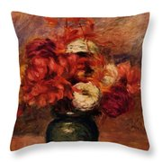 Flowers In A Green Vase Dahlilas And Asters Throw Pillow