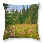 Flowers In A Mountain Glade Throw Pillow