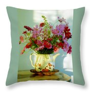 Flowers In A Teapot Throw Pillow
