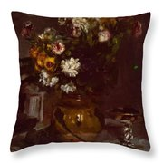 Flowers In A Vase And A Glass Of Champagne Throw Pillow