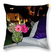 Flowers In A Vase On A White Table Throw Pillow