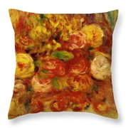 Flowers In A Vase With Blue Decoration Throw Pillow