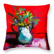 Flowers In Blue Green Pitcher Throw Pillow