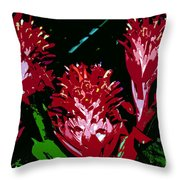 Flowers In Red Throw Pillow