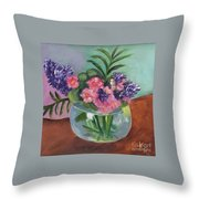 Flowers In Round Glass Vase Throw Pillow