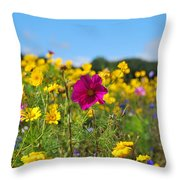 Flowers In The Field Throw Pillow