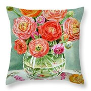 Flowers In The Glass Vase Throw Pillow