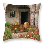 Flowers In The South Wing, Mission San Juan Capistrano, California Throw Pillow
