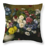 Flowers In Three Vases 1879 Throw Pillow