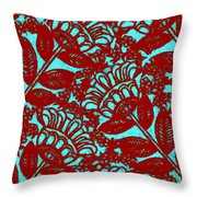 Flowers Indigo Red And Blue Throw Pillow