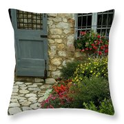 Flowers Line The Path And Adorn Throw Pillow by Todd Gipstein