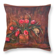 Flowers Of Pink In Vase Throw Pillow