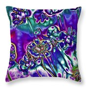 Flowers Of The Distant Planet Throw Pillow