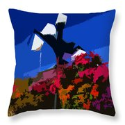 Flowers On Lamppost Throw Pillow