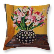 Flowers On The Desk Throw Pillow