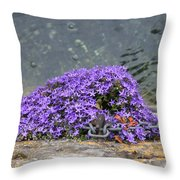 Flowers On The Stone Wall Throw Pillow