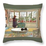 Flowers On The Windowsill Throw Pillow