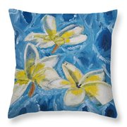 Flowers On Water Ripples Throw Pillow