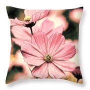 Flowers - Retro Cosmos Throw Pillow