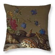 Flowers, Shells And Insects On A Stone Ledge Throw Pillow