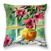 Flowers Shells And Lace Throw Pillow