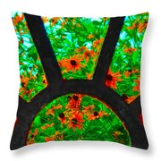 Flowers Through Basement Window At Monticello Throw Pillow