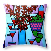 Flowers Wine Apples Throw Pillow