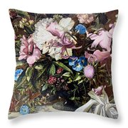 Flowers With A Bird Throw Pillow