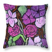 Flowers With Basket Weave Throw Pillow