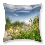 Flowery Dunes Throw Pillow