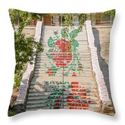 Flowery Stairs Throw Pillow