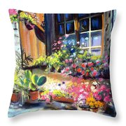 Flowery Window Of France Throw Pillow