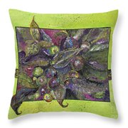 Flowing Leaves And Berries Throw Pillow